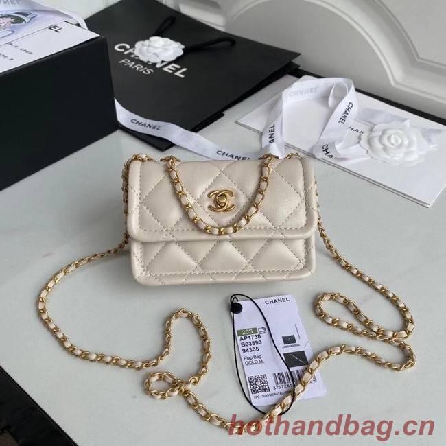Chanel mini flap bag Sheepskin & Gold-Tone Metal AP1738 Beige