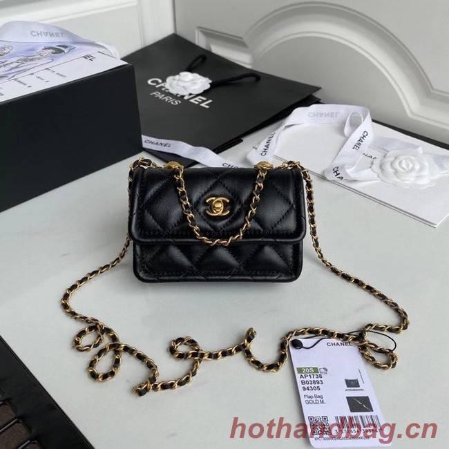 Chanel mini flap bag Sheepskin & Gold-Tone Metal AP1738 black