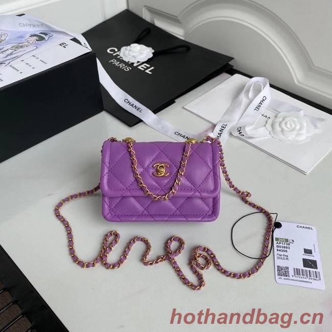 Chanel mini flap bag Sheepskin & Gold-Tone Metal AP1738 purple
