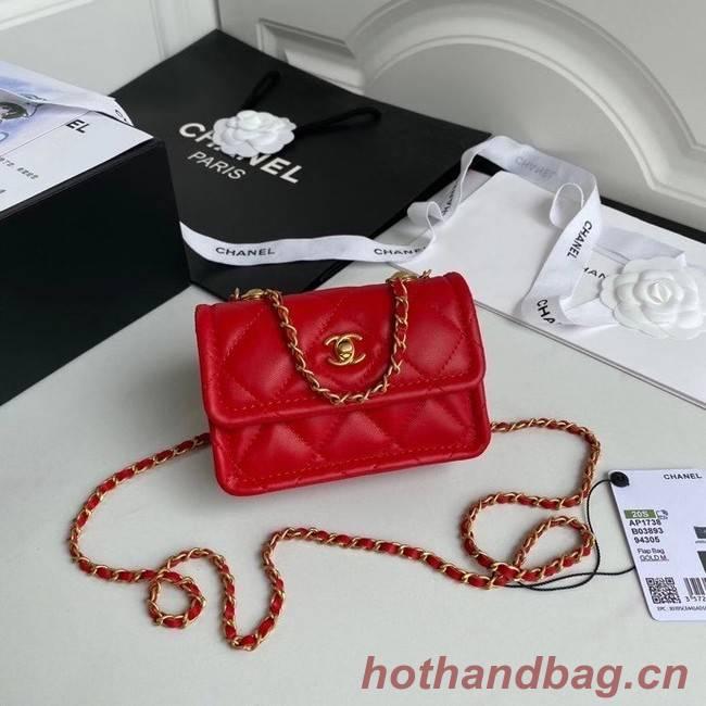 Chanel mini flap bag Sheepskin & Gold-Tone Metal AP1738 red
