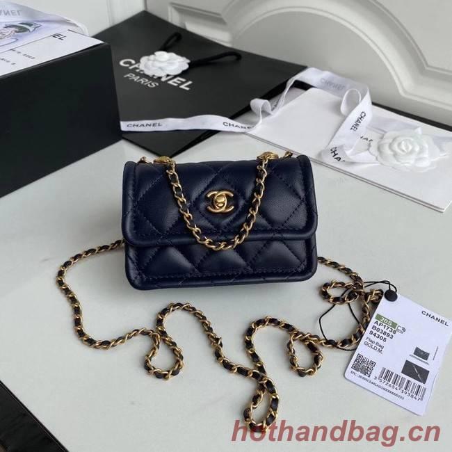 Chanel mini flap bag Sheepskin & Gold-Tone Metal AP1738 royal blue
