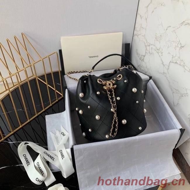 Chanel small drawstring bag Lambskin & Gold Metal AS2322 black