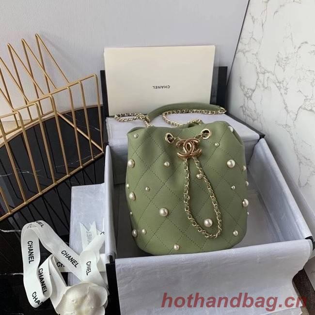 Chanel small drawstring bag Lambskin & Gold Metal AS2322 green