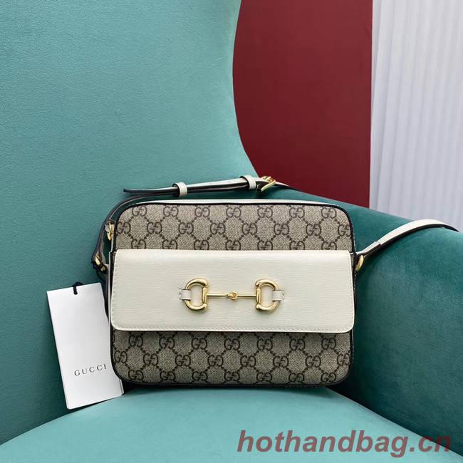 Gucci Horsebit 1955 small GG Supreme canvas shoulder bag 645454 White