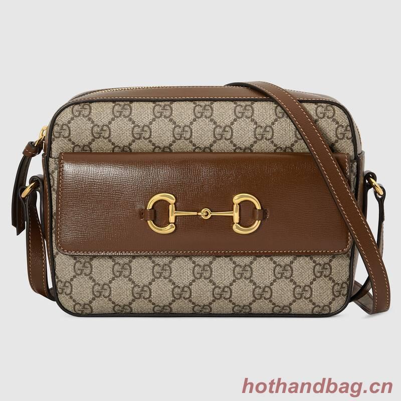 Gucci Horsebit 1955 small GG Supreme canvas shoulder bag 645454 brown