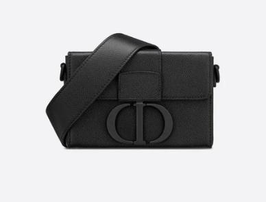 30 MONTAIGNE BOX BAG Black Ultramatte Grained Calfskin M9204S