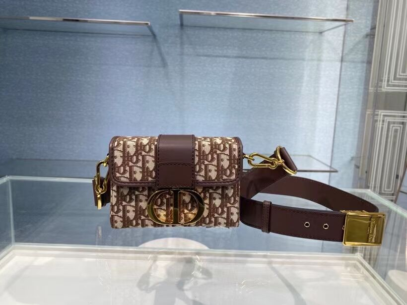 30 MONTAIGNE BOX BAG Brown Dior Oblique Jacquard M9204