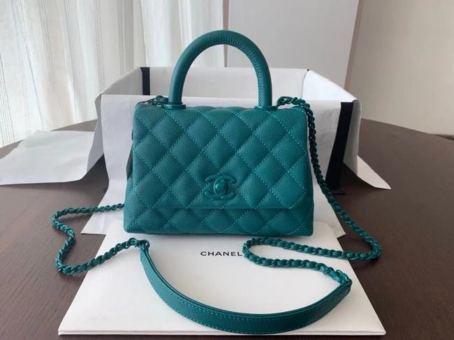 Chanel coco mini flap bag with top handle AS2215 green