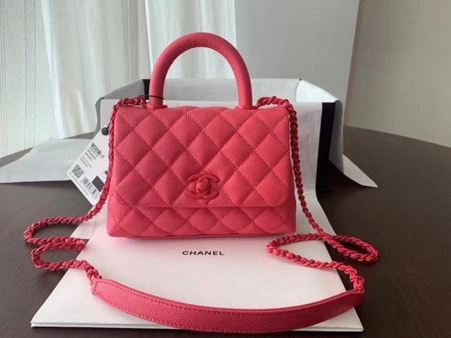 Chanel coco mini flap bag with top handle AS2215 pink