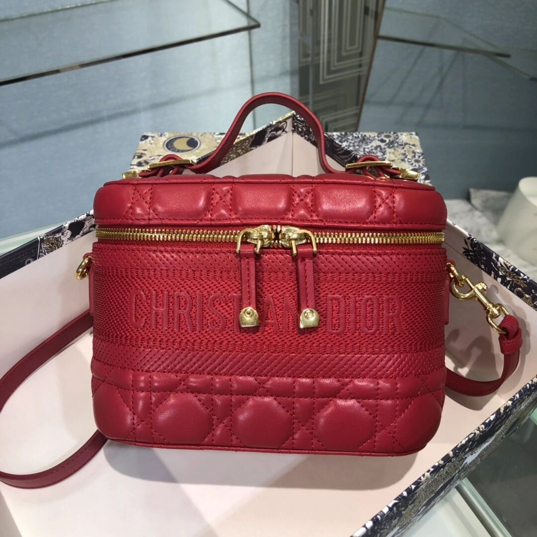 DIOR SMALL DIORTRAVEL VANITY CASE Cannage Lambskin S5488U red