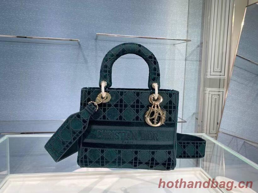 MEDIUM LADY D-LITE BAG Cannage Embroidered Velvet M0565OW green