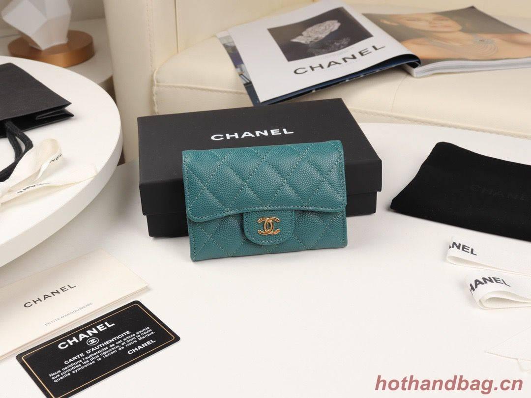 Chanel card holder Calfskin & Gold-Tone Metal A80799 Green