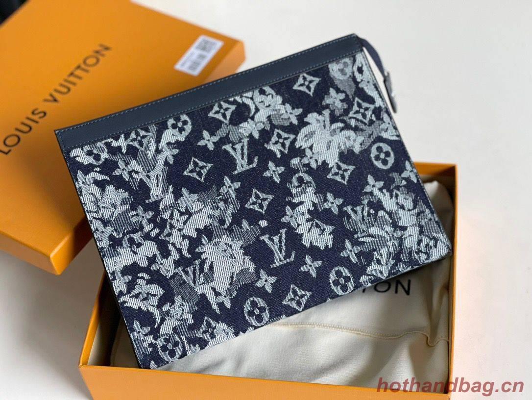 Louis Vuitton Monogram Tapestry Pochette Voyage Denim Bag M80034 Black
