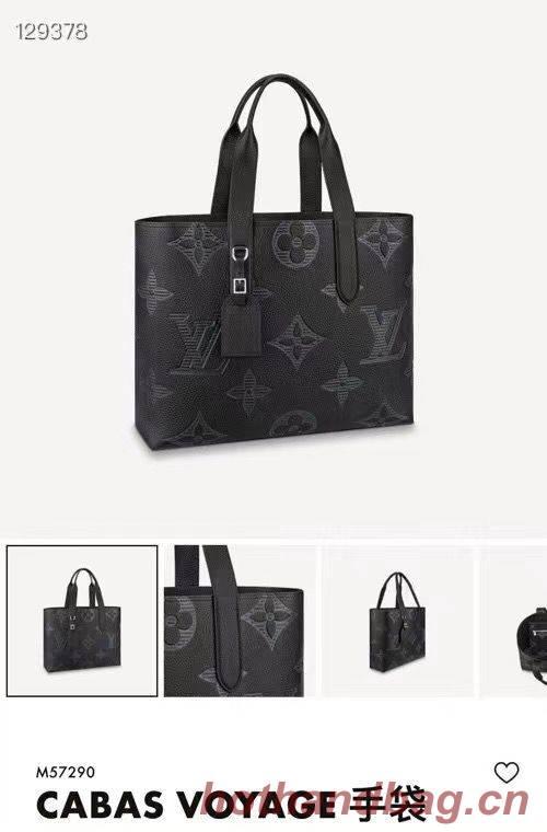 Louis Vuitton Monogram Taurillon Shadow Original Leather Cabas Voyage Bag M57290 Black