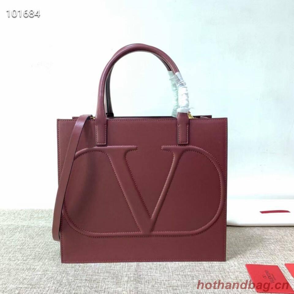 VALENTINO Origianl leather tote V2021 oxblood red