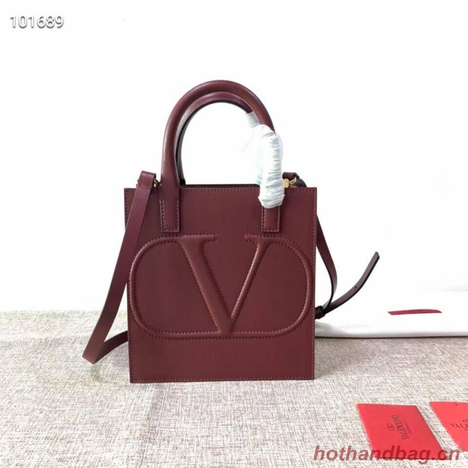 VALENTINO Origianl leather tote V2022 oxblood red