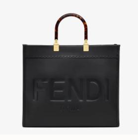 FENDI SUNSHINE MEDIUM black leather shopper 8BH386A