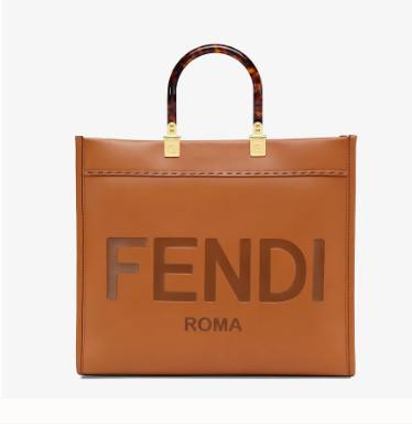 FENDI SUNSHINE MEDIUM brown leather shopper 8BH386A