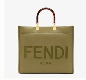 FENDI SUNSHINE MEDIUM green leather shopper 8BH386A