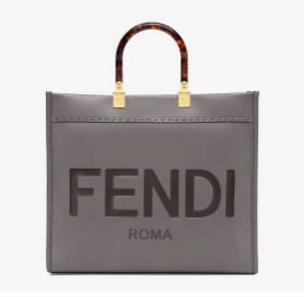FENDI SUNSHINE large gray leather shopper 8BH387A