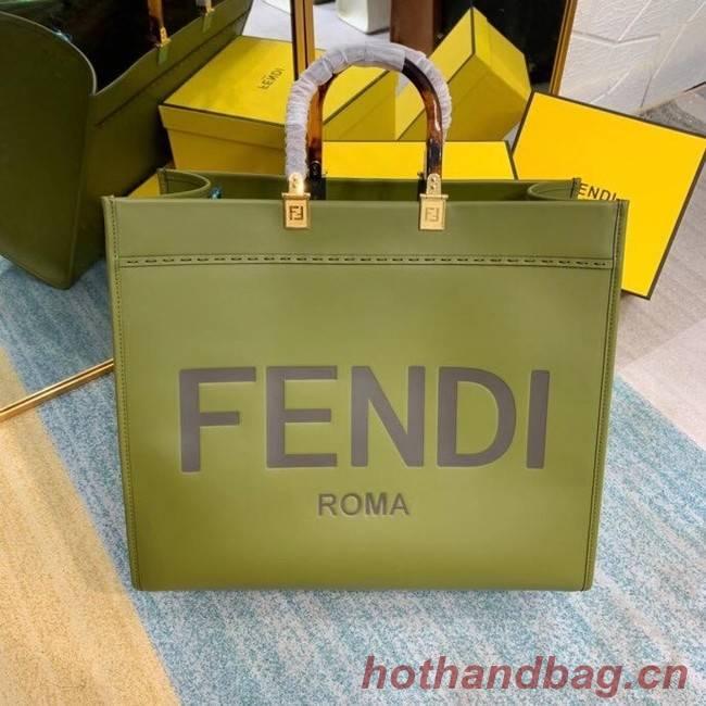 FENDI SUNSHINE large green leather shopper 8BH387A