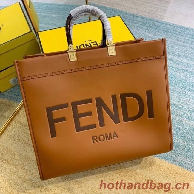 FENDI SUNSHINE large brown leather shopper 8BH387A