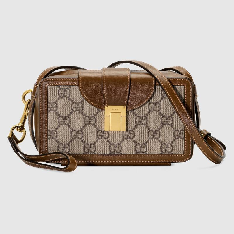 Gucci GG mini bag with clasp closure 614368 brown