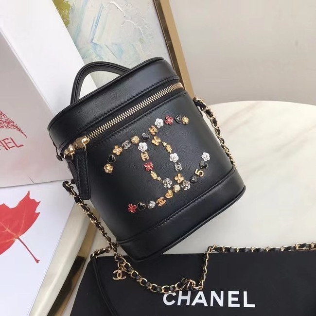 Chanel Lambskin Crystal Calfskin & Gold-Tone Metal AS1882 black