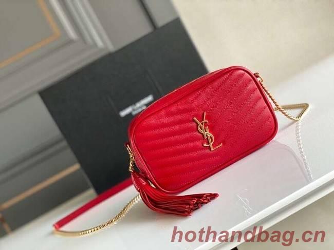 Yves Saint Laurent VINTAGE CAMERA BAG IN Calfskin Leather 6125791 red