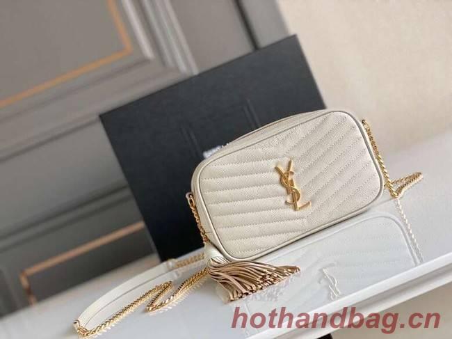 Yves Saint Laurent VINTAGE CAMERA BAG IN Calfskin Leather 6125791 white