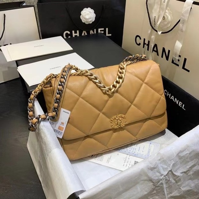 chanel 19 large flap bag AS1162 apricot