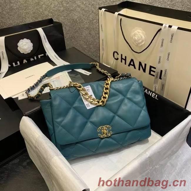 chanel 19 large flap bag AS1162 blue