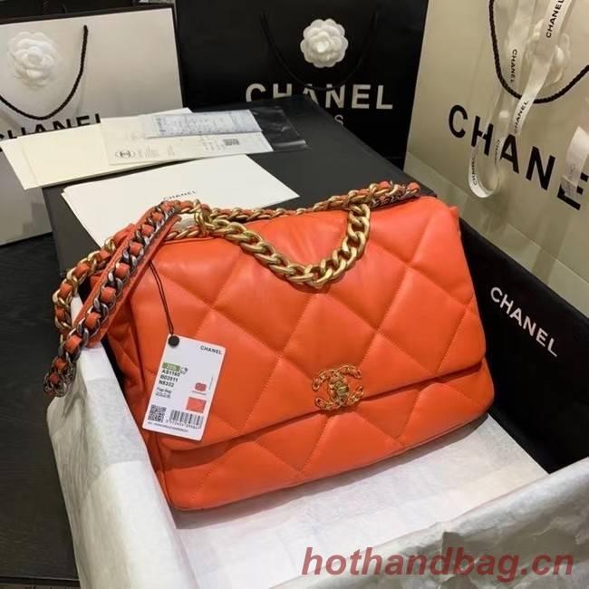 chanel 19 large flap bag AS1162 orange