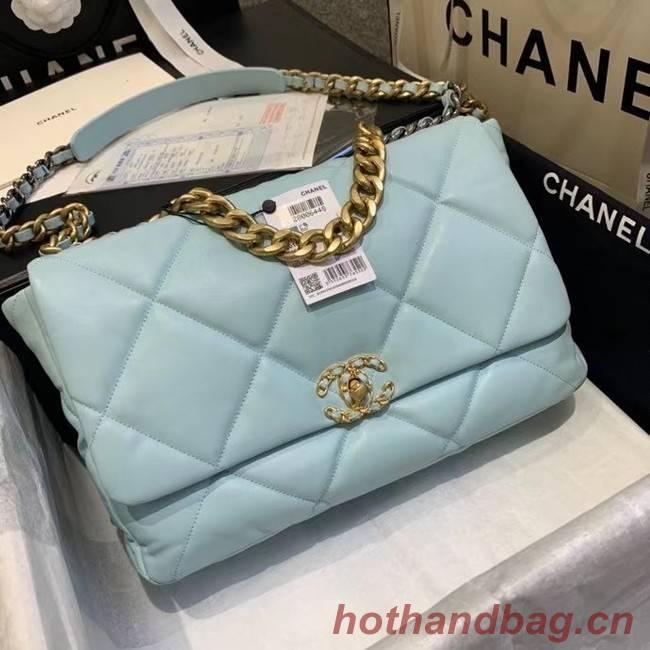 chanel 19 large flap bag AS1162 sky blue