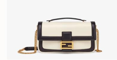 FENDI BAGUETTE CHAIN Black and white nappa leather bag 8BR783A