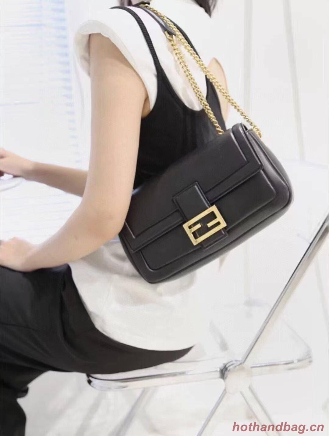 FENDI BAGUETTE CHAIN Black nappa leather bag 8BR783A