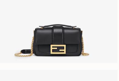 FENDI MINI BAGUETTE CHAIN Black nappa leather bag 8BS045A