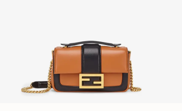 FENDI MINI BAGUETTE CHAIN Brown and blac nappa leather bag 8BS045A