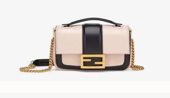 FENDI MINI BAGUETTE CHAIN Pink and black nappa leather bag 8BS045A