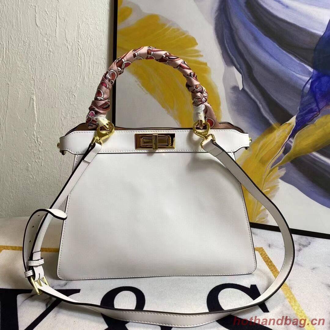FENDI PEEKABOO ICONIC MEDIUM White leather bag F6946