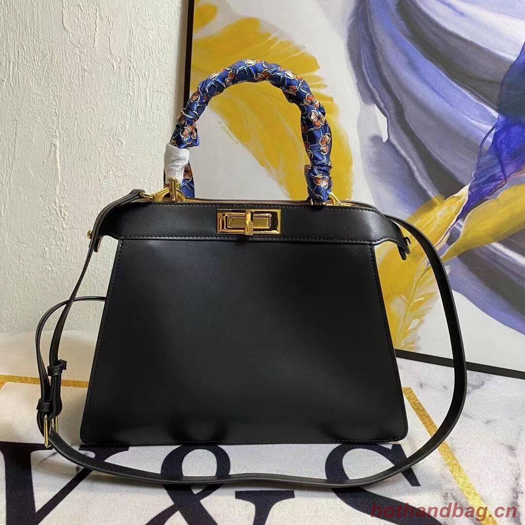 FENDI PEEKABOO ICONIC MEDIUM black leather bag F6946