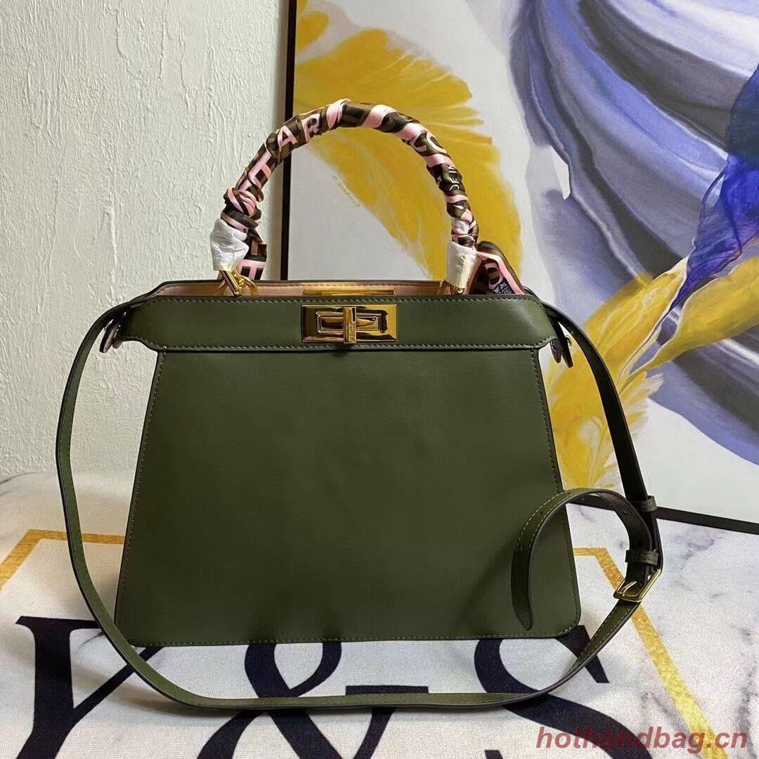 FENDI PEEKABOO ICONIC MEDIUM green leather bag F6946