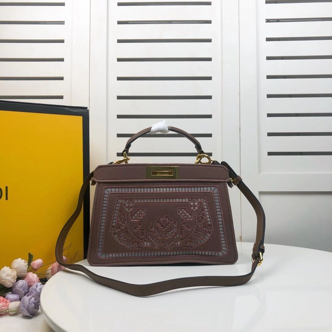FENDI PEEKABOO ICONIC with brown embroidery decoration F6509