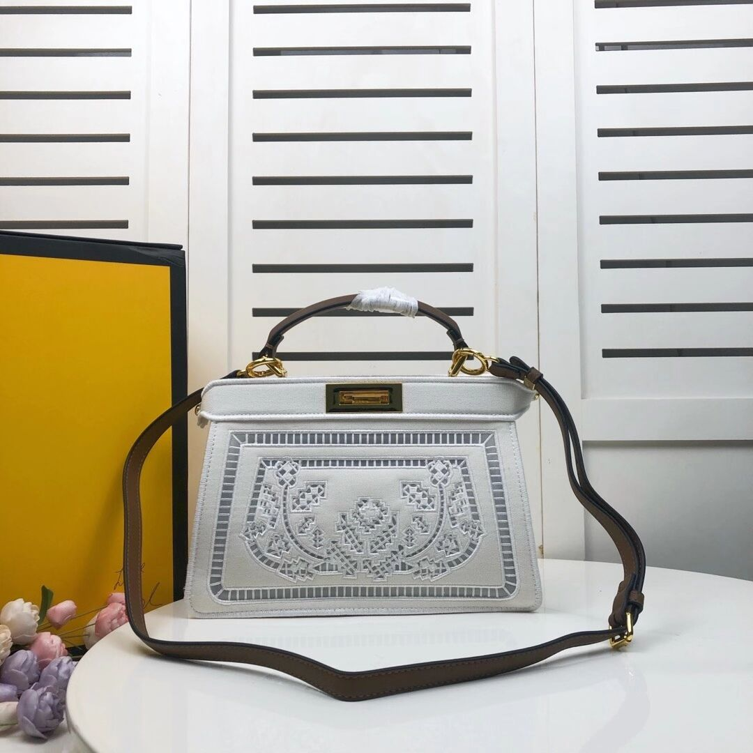 FENDI PEEKABOO ICONIC with white embroidery decoration F6509