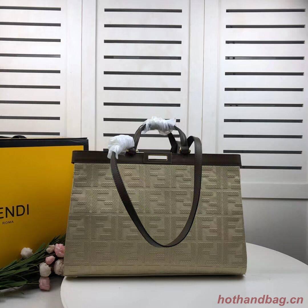 FENDI PEEKABOO X-TOTE canvas bag 8BH374A beige