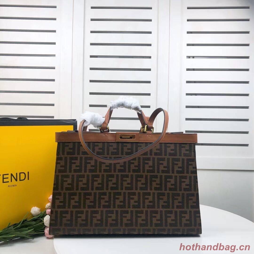 FENDI PEEKABOO X-TOTE canvas bag 8BH374A brown