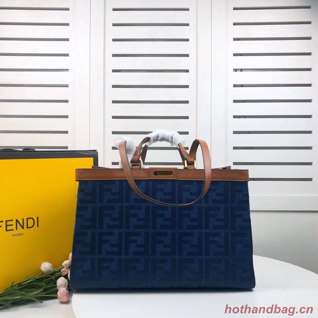 FENDI PEEKABOO X-TOTE canvas bag 8BH374A brown&blue