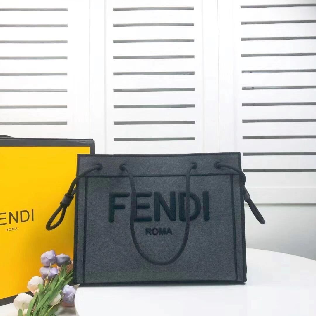 FENDI canvas bag F6501 dark gray
