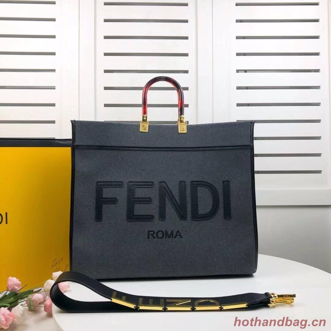 FENDI SUNSHINE LARGE Grey flannel shopper 8BH372
