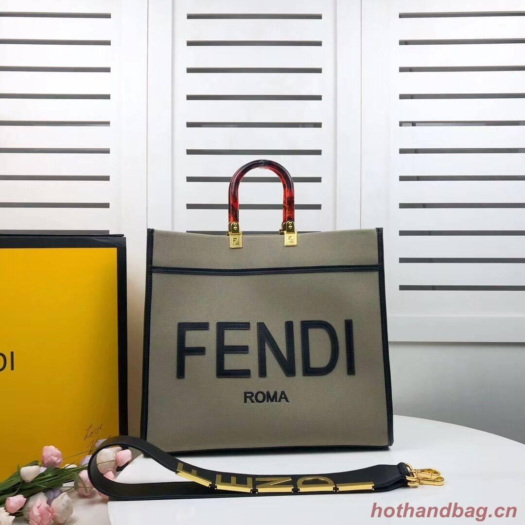 FENDI SUNSHINE LARGE flannel shopper 8BH371 green